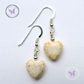 Howlite Heart Earrings